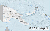 Gray 3D Map of Papua New Guinea, single color outside