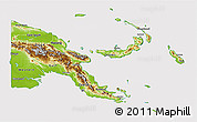 Physical 3D Map of Papua New Guinea, cropped outside