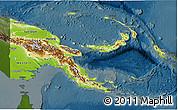Physical 3D Map of Papua New Guinea, darken