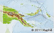 Physical 3D Map of Papua New Guinea, lighten