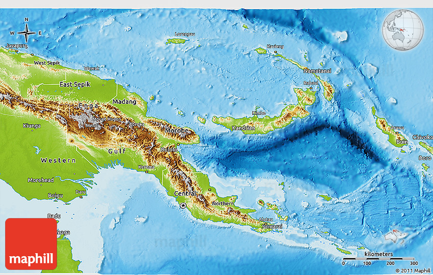 Physical 3D Map of Papua New Guinea