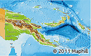 Physical 3D Map of Papua New Guinea, political outside, shaded relief sea