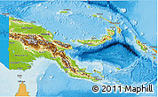 Physical 3D Map of Papua New Guinea, political shades outside, shaded relief sea