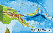 Physical 3D Map of Papua New Guinea, satellite outside, shaded relief sea
