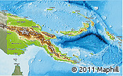 Physical 3D Map of Papua New Guinea, semi-desaturated, land only