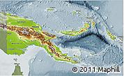 Physical 3D Map of Papua New Guinea, semi-desaturated