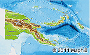Physical 3D Map of Papua New Guinea, single color outside