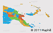 Political 3D Map of Papua New Guinea, cropped outside