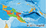 Political 3D Map of Papua New Guinea, political shades outside