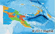 Political 3D Map of Papua New Guinea, single color outside