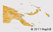Political Shades 3D Map of Papua New Guinea, cropped outside