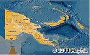 Political Shades 3D Map of Papua New Guinea, darken