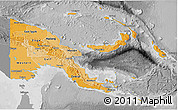 Political Shades 3D Map of Papua New Guinea, desaturated