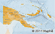 Political Shades 3D Map of Papua New Guinea, lighten