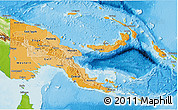 Political Shades 3D Map of Papua New Guinea, physical outside