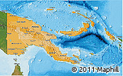 Political Shades 3D Map of Papua New Guinea, satellite outside, bathymetry sea