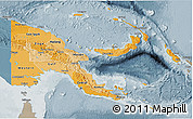 Political Shades 3D Map of Papua New Guinea, semi-desaturated