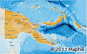 Political Shades 3D Map of Papua New Guinea, shaded relief outside, bathymetry sea