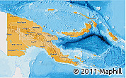 Political Shades 3D Map of Papua New Guinea, single color outside