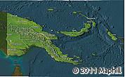 Satellite 3D Map of Papua New Guinea, darken