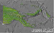 Satellite 3D Map of Papua New Guinea, desaturated