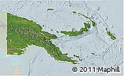 Satellite 3D Map of Papua New Guinea, lighten