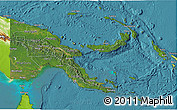 Satellite 3D Map of Papua New Guinea, physical outside, satellite sea