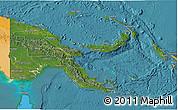 Satellite 3D Map of Papua New Guinea, political outside, satellite sea