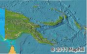 Satellite 3D Map of Papua New Guinea, political shades outside, satellite sea