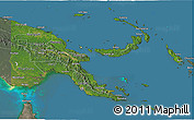 Satellite 3D Map of Papua New Guinea, semi-desaturated, land only