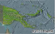 Satellite 3D Map of Papua New Guinea, semi-desaturated