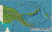 Satellite 3D Map of Papua New Guinea, shaded relief outside, satellite sea