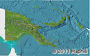 Satellite 3D Map of Papua New Guinea, single color outside