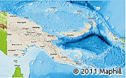 Shaded Relief 3D Map of Papua New Guinea, physical outside