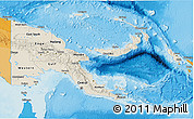 Shaded Relief 3D Map of Papua New Guinea, political outside, shaded relief sea