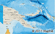 Shaded Relief 3D Map of Papua New Guinea, political shades outside, shaded relief sea