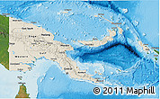 Shaded Relief 3D Map of Papua New Guinea, satellite outside, shaded relief sea
