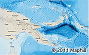 Shaded Relief 3D Map of Papua New Guinea, semi-desaturated, land only
