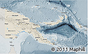 Shaded Relief 3D Map of Papua New Guinea, semi-desaturated