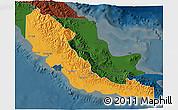 Political 3D Map of Central, darken