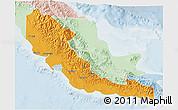 Political 3D Map of Central, lighten