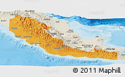 Political Panoramic Map of Central, shaded relief outside
