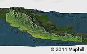 Satellite Panoramic Map of Central, darken