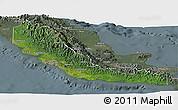 Satellite Panoramic Map of Central, semi-desaturated