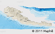 Shaded Relief Panoramic Map of Central, single color outside