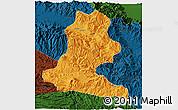 Political 3D Map of Chimbu, darken
