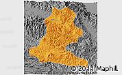 Political 3D Map of Chimbu, desaturated