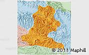 Political 3D Map of Chimbu, lighten