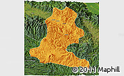 Political 3D Map of Chimbu, satellite outside