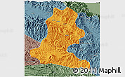 Political 3D Map of Chimbu, semi-desaturated